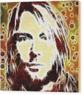 Kurt Cobain Digital Painting Wood Print
