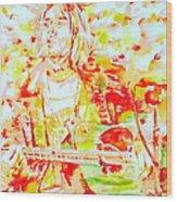 Kurt Cobain Live Concert - Watercolor Portrait Wood Print
