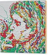 Kurt Cobain Smoking -portrait-enamels On Canvas Wood Print