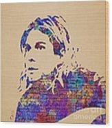 Kurt Cobain Watercolor Wood Print