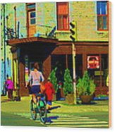 Kusmi Tea And Sandwich Shop St Viateur Corner St Urbain Montreal Summer City Scene  Carole Spandau Wood Print