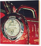 Kustom Red Coupe Wood Print