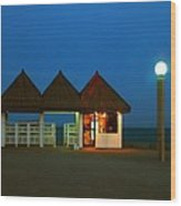 Kuwaiti Pier Snack Bar At Dusk Wood Print