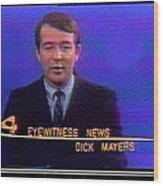 Kvoa Tv Anchorman Interviewer Writer Photographer Dick Mayers Screen Capture Collage Circa 1965-2011 Wood Print