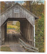 Ky Hillsboro Or Grange City Covered Bridge Wood Print