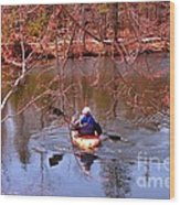 Kyaking On A Lake In Spring Wood Print