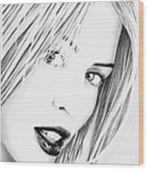 Kylie Minogue Portrait Wood Print