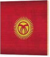 Kyrgyzstan Flag Vintage Distressed Finish Wood Print