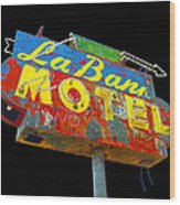 La Bank Motel - Black Wood Print