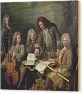 La Barre And Other Musicians, C.1710 Oil On Canvas Wood Print