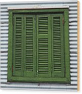 La Boca Shutter Green Wood Print