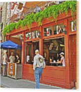 La Cage Aux Sports In Old Montreal-quebec Wood Print