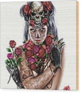 La Calavera Catrina Wood Print by Pete Tapang