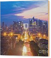 La Defense And Champs Elysees At Sunset In Paris France Wood Print