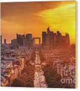 La Defense And Champs Elysees At Sunset Wood Print