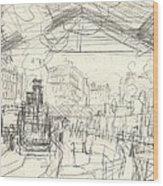La Gare Saint Lazare Wood Print by Claude Monet
