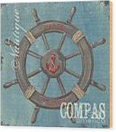 La Mer Compas Wood Print by Debbie DeWitt