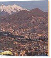 La Paz Skyline At Sundown Wood Print