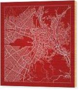 La Paz  Street Map - La Paz Bolivia Road Map Art On Color Wood Print