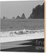 La Push Beach Black And White Wood Print