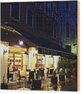 La Roberto's Trattoria On A Rainy Eve Wood Print by Jan Moore