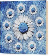 La Ronde Des Marguerites - Blue V05 Wood Print
