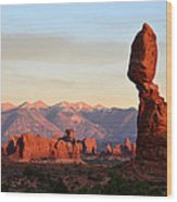 La Sal Mountains From Balanced Rock Wood Print