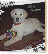 Lab Pup Merry Christmas Wood Print
