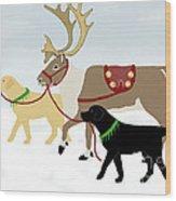 Labrador Dogs Lead Reindeer Wood Print