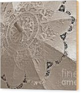Lace Parasol In Sepia Wood Print