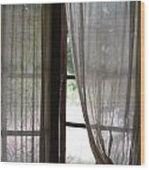 Lace Window Covering. Wood Print