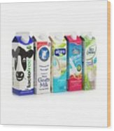 Lactose Free Milk And Dairy Substitutes Wood Print