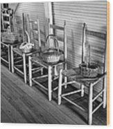 Ladder Back Chairs And Baskets Wood Print by Lynn Palmer