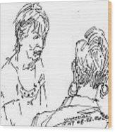 Ladies Chatting Wood Print