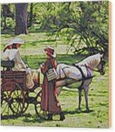 Ladies In The Meadow Wood Print