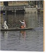 Ladies Plying A Small Boat In The Dal Lake In Srinagar - In Fron Wood Print