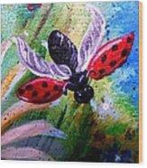 Lady Bug Landing Wood Print