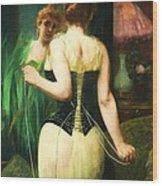 Lady Dressing Wood Print