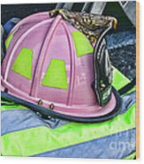 Lady Firefighter Wood Print