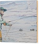 Lady Fly Fishing Wood Print