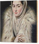 Lady In A Fur Wrap Wood Print