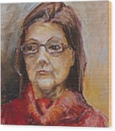 Lady In A Red Pullover Wood Print