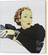 Lady In Black Wood Print