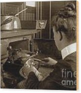 Lady In Early Kitchen Cooking Turkey Dinner 1900 Wood Print
