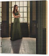 Lady In Green Gown By Window Wood Print by Jill Battaglia