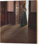 Lady In Green Gown In Doorway Wood Print by Jill Battaglia