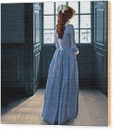 Lady In Purple Gown By Window Wood Print