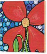 Lady In Red 2 - Buy Poppy Prints Online Wood Print