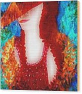 Lady In Red 2 Wood Print