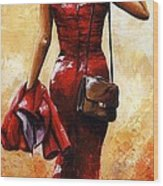 Lady In Red #25 Wood Print